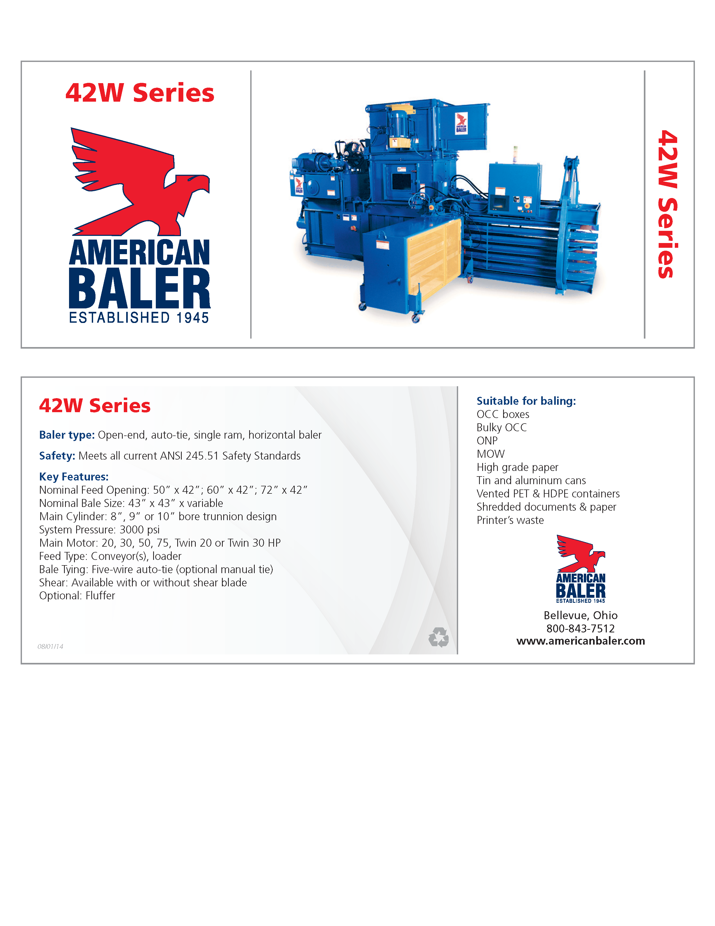 Learn more about the 42WS Series Baler in the American Baler Brochure.