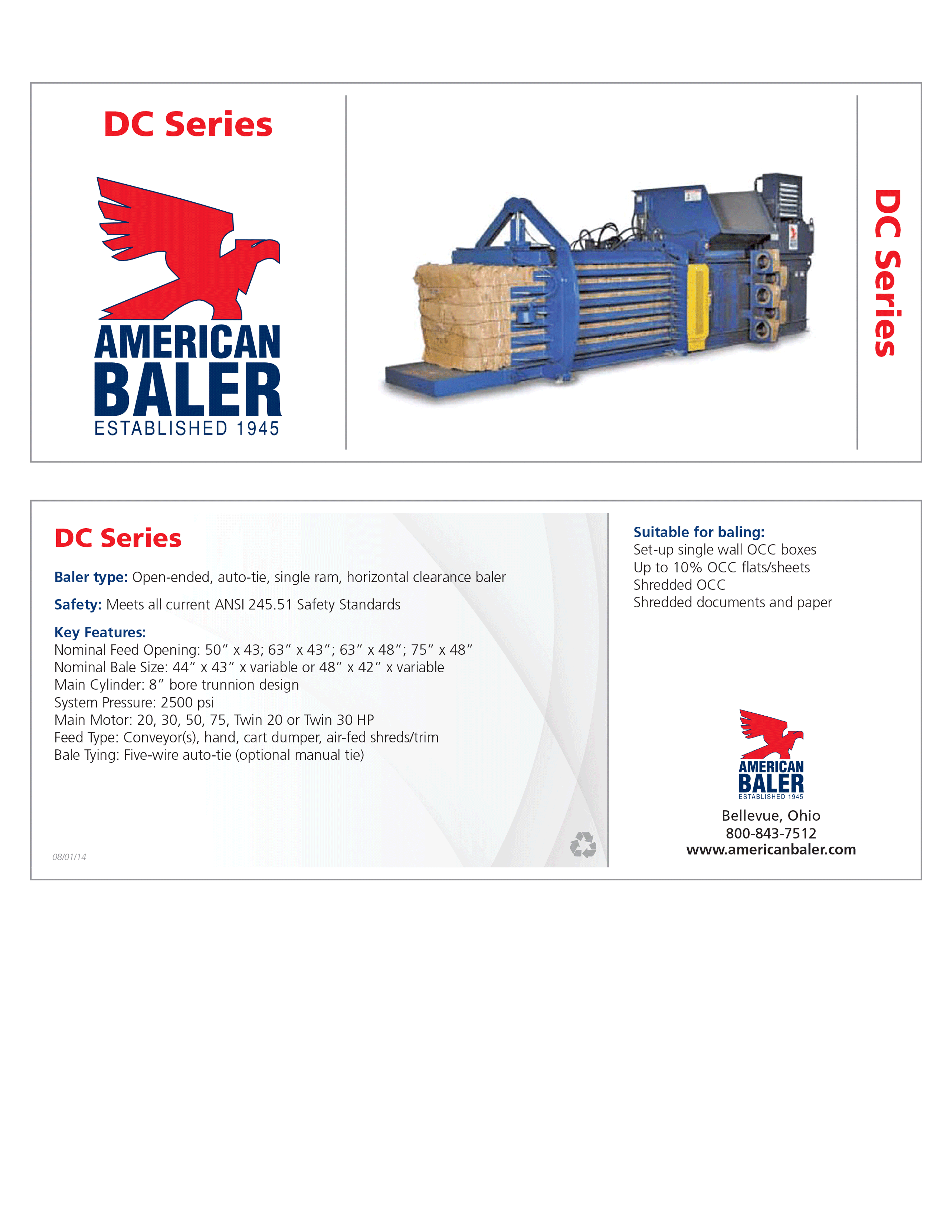 Learn more about the DC Series Baler in American Baler's Brochure.