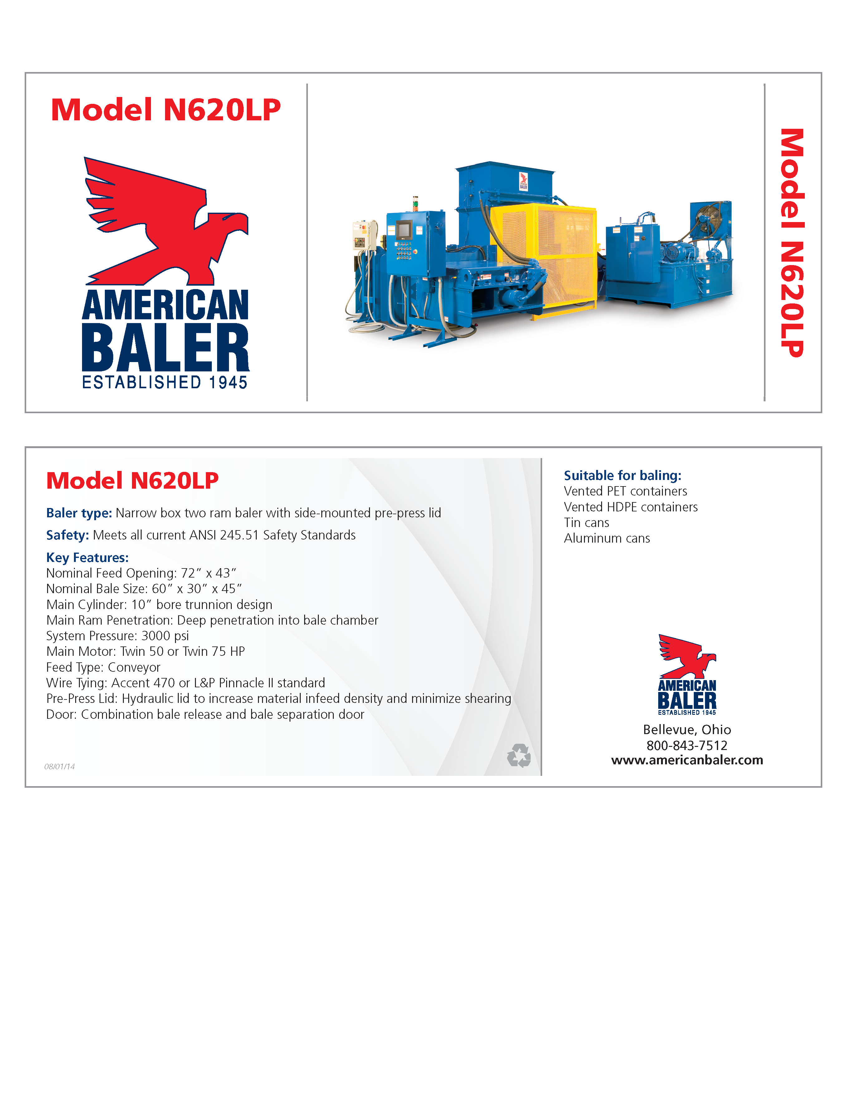 Learn more about the N620LP Baler in the American Baler Brochure