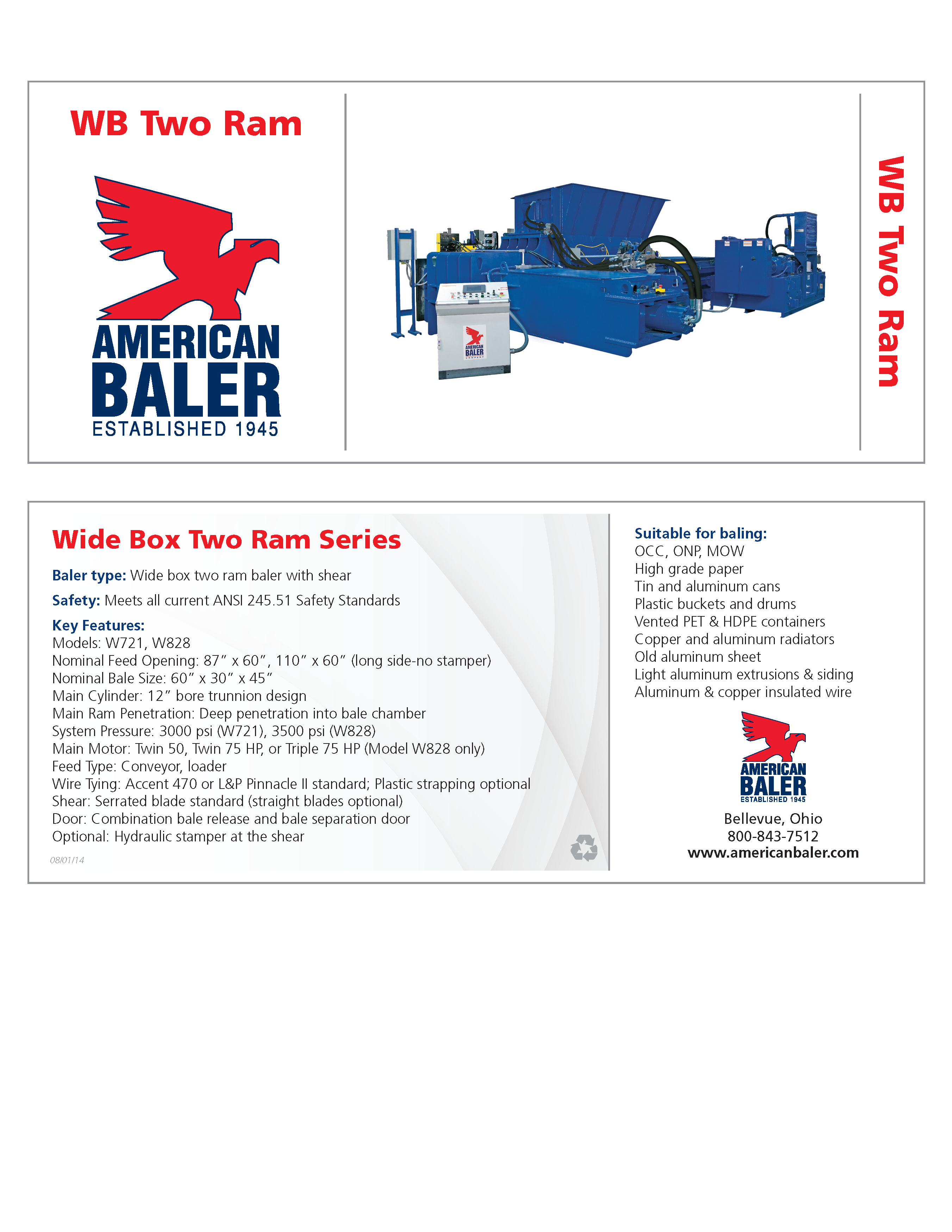 Learn more about the WB Series Balers in the American Baler Brochure.