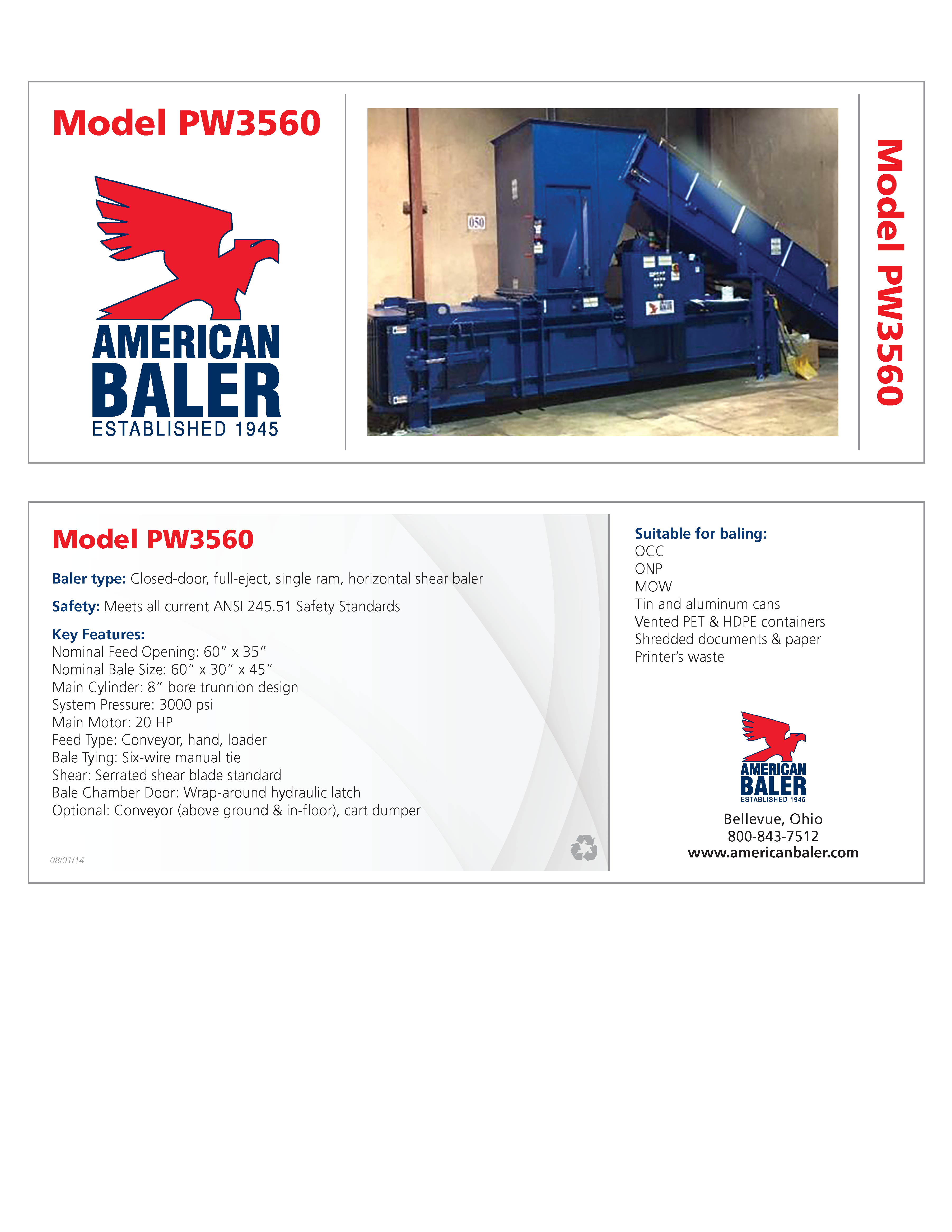 Learn more about the PW3560 Full Eject Manual-Tie Predator Baler in the American Baler Brochure