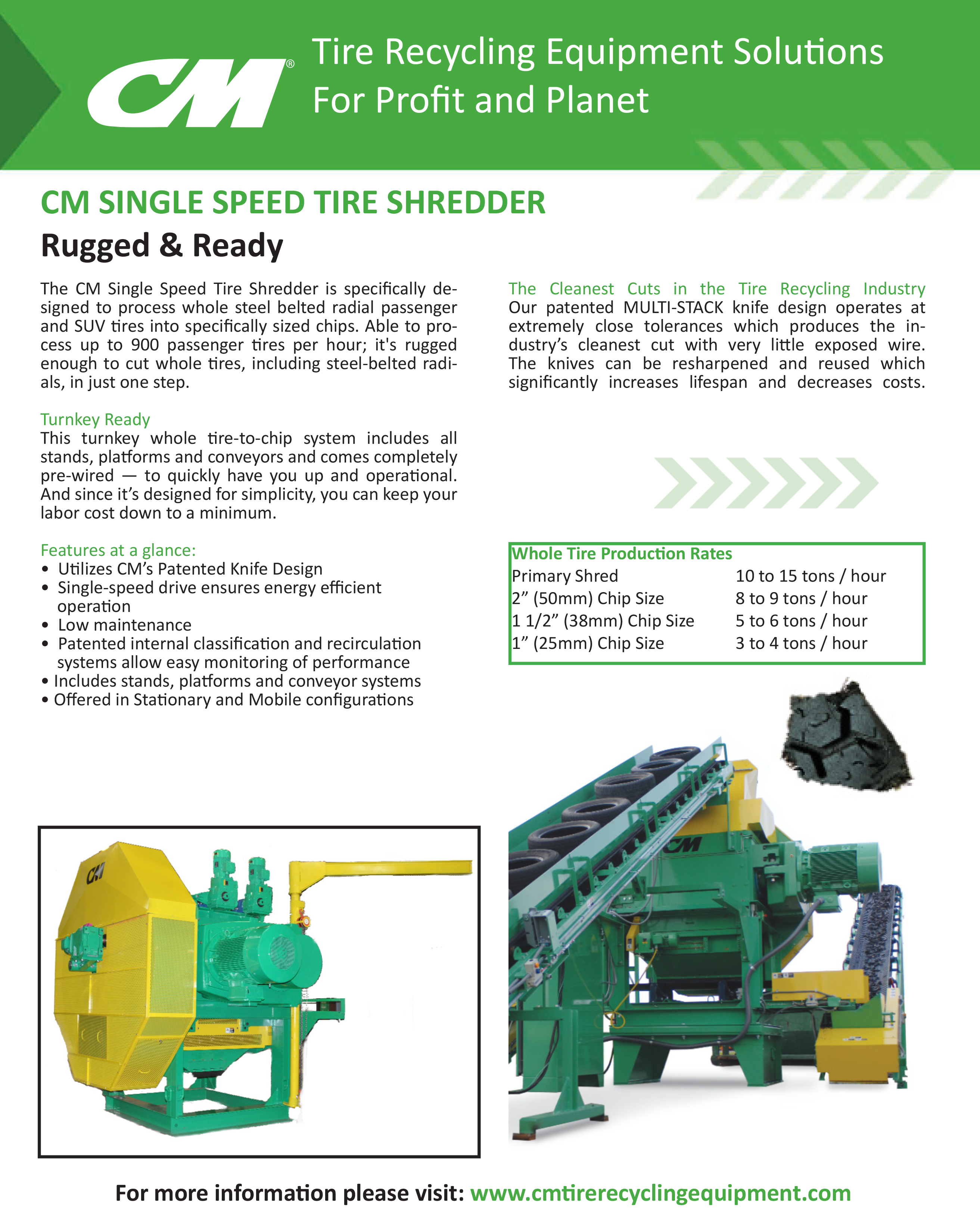 Learn more by viewing the CM Single Speed Tire Shredder Brochure