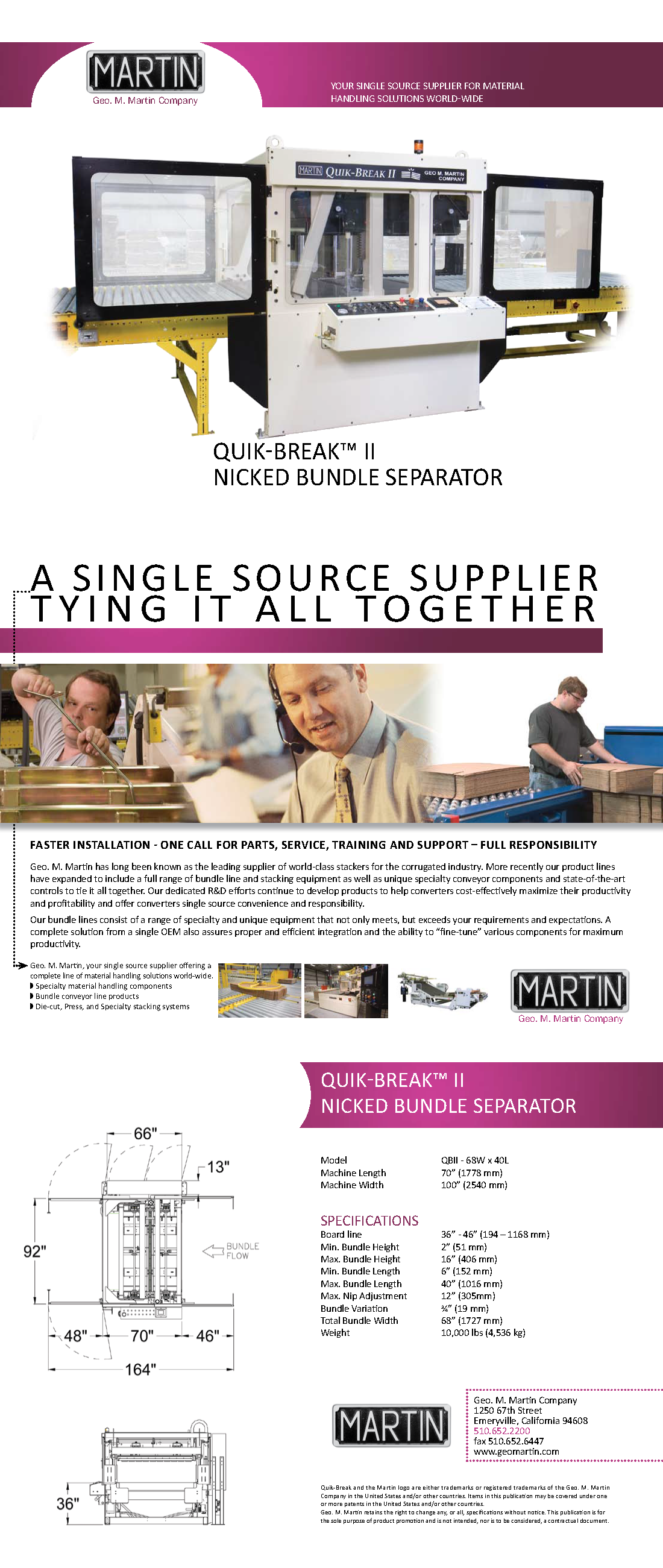 Learn more about the Quik-Break II Nicked Bundle Separator by viewing the Geo. M. Martin brochure.