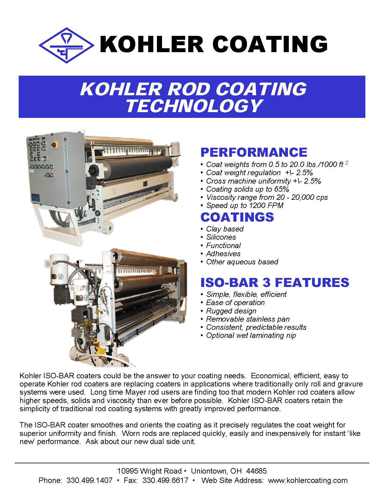Learn more by viewing the Kohler Coating Rod Coating Technology Brochure.
