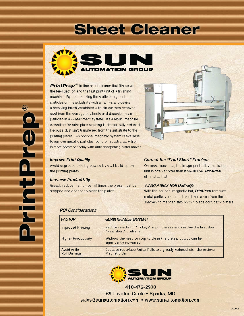 Learn more about Sun Automation's PrintPrep Sheet Cleaner in their brochure.