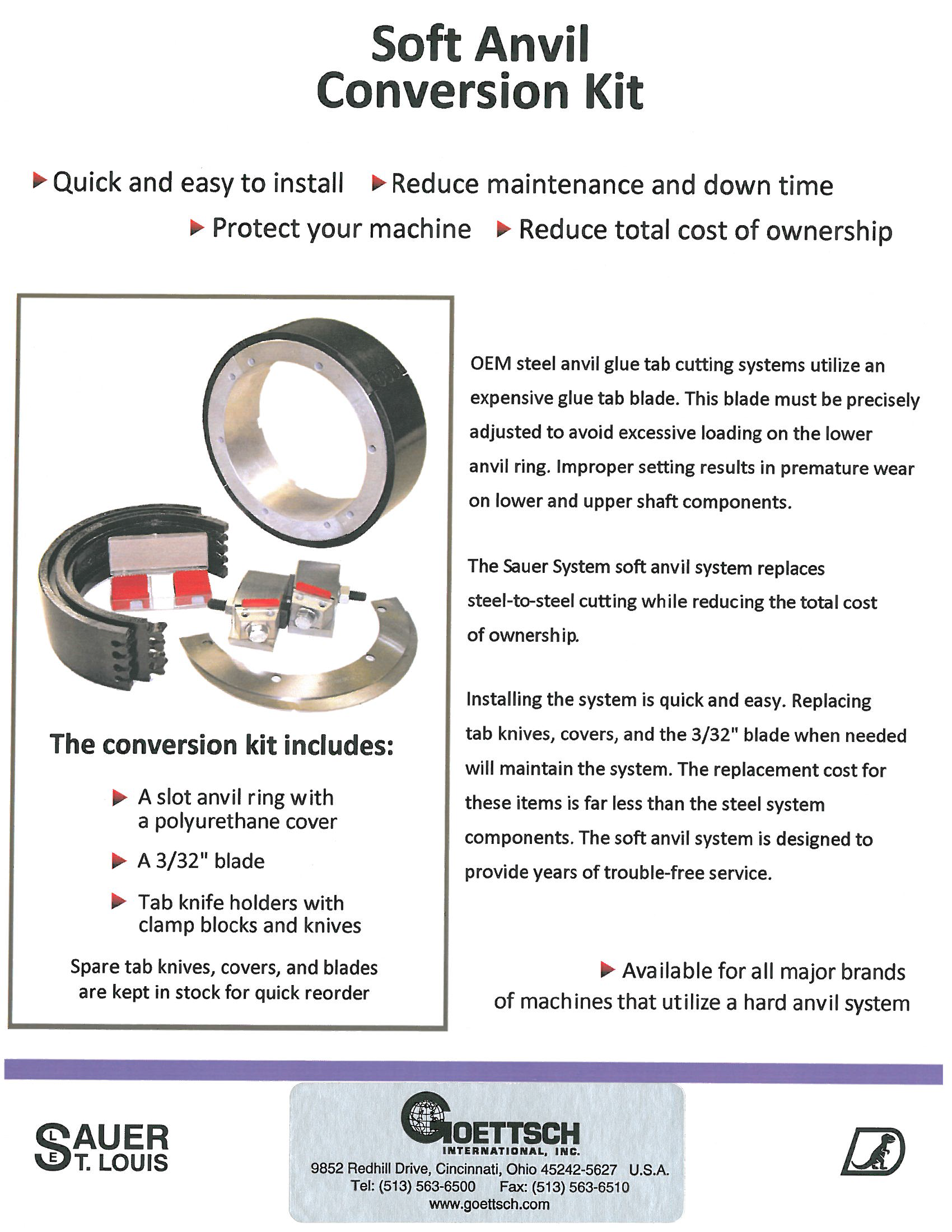 Learn more about the Soft Anvil Conversion Kit and Stitch Tab Knives in the Sauer System brochure.