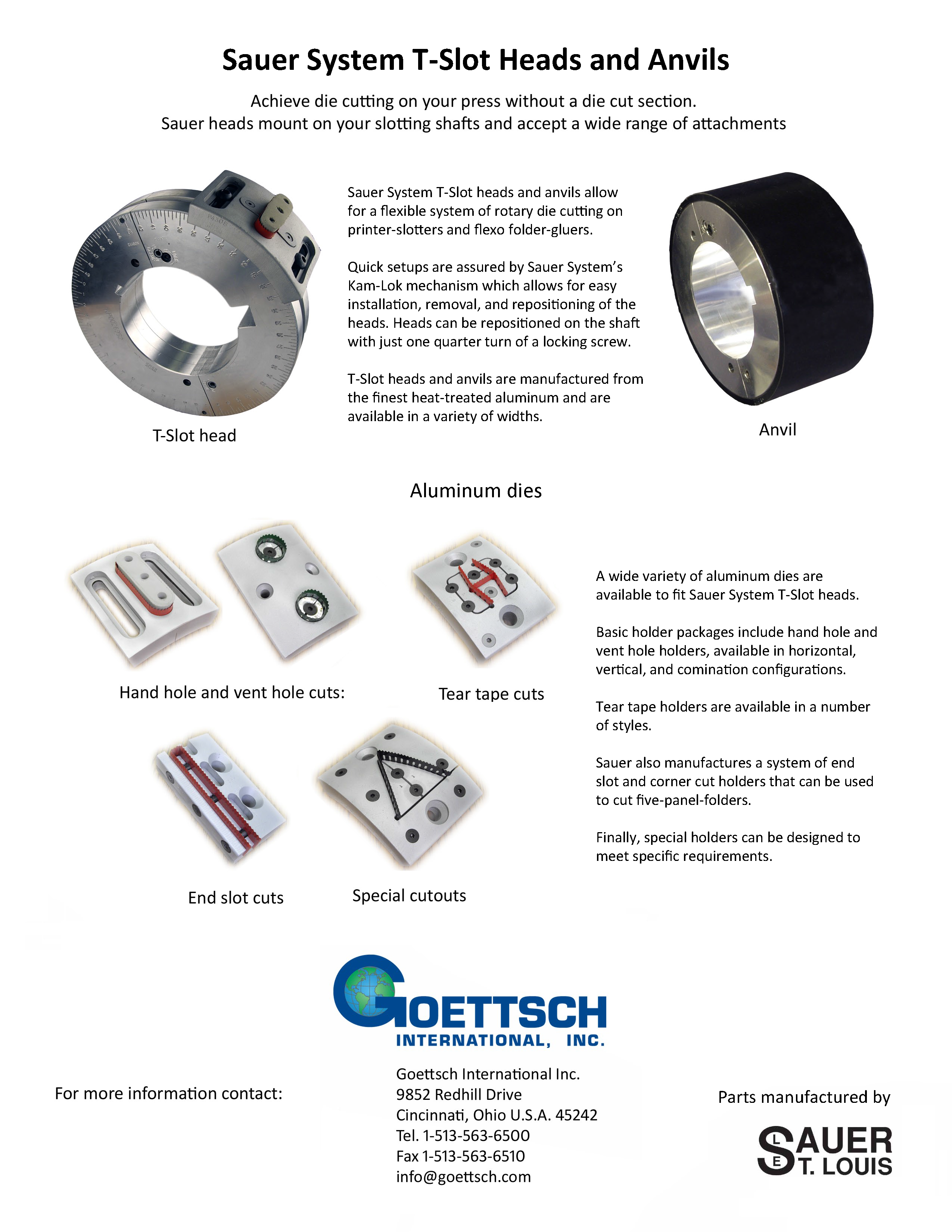 Learn more about the T-Slot Heads, Anvils and Aluminum Dies in the Sauer System brochure