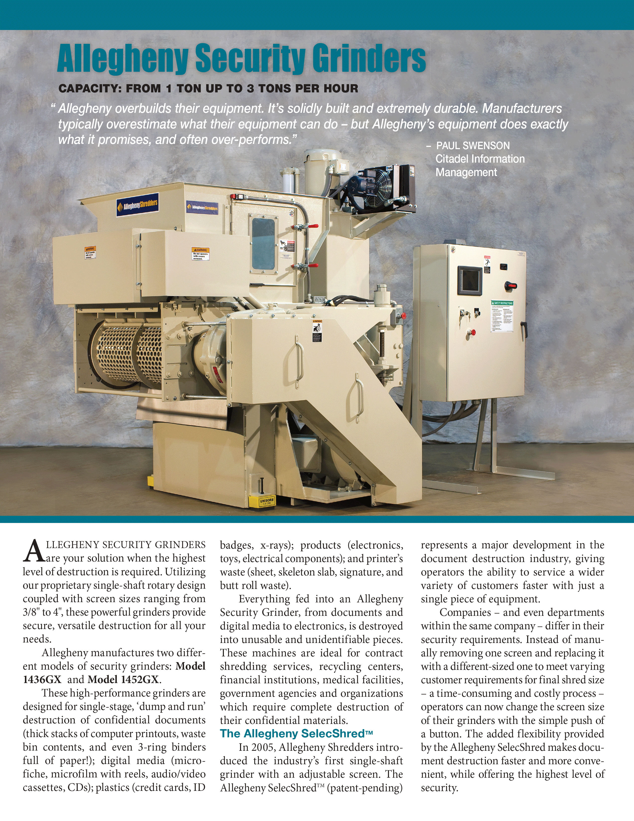 Learn more about Security Grinders in the Allegheny Brochure.