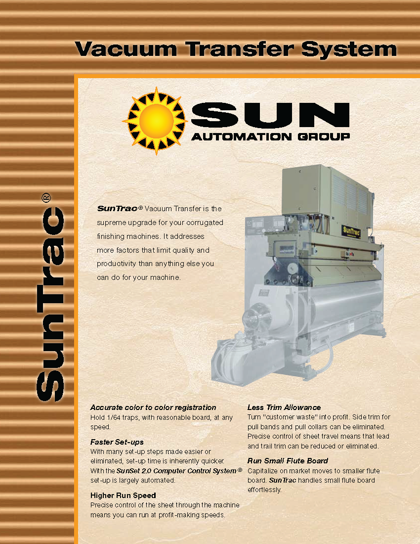 Learn more about the SunTrac Vacuum Transfer System in the Sun Automation brochure.