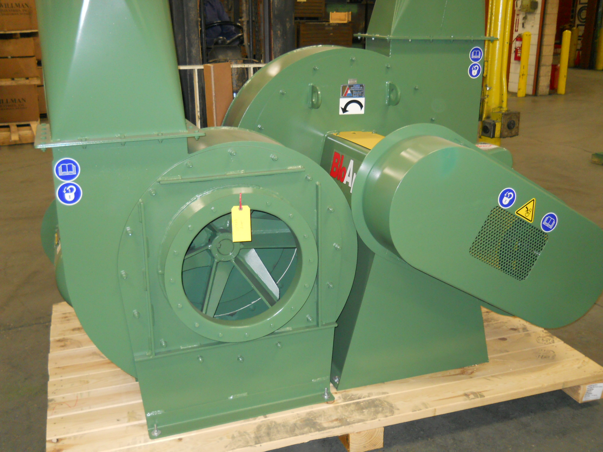 Pictured is a BloApCo Heavy Duty Material Handling Fan