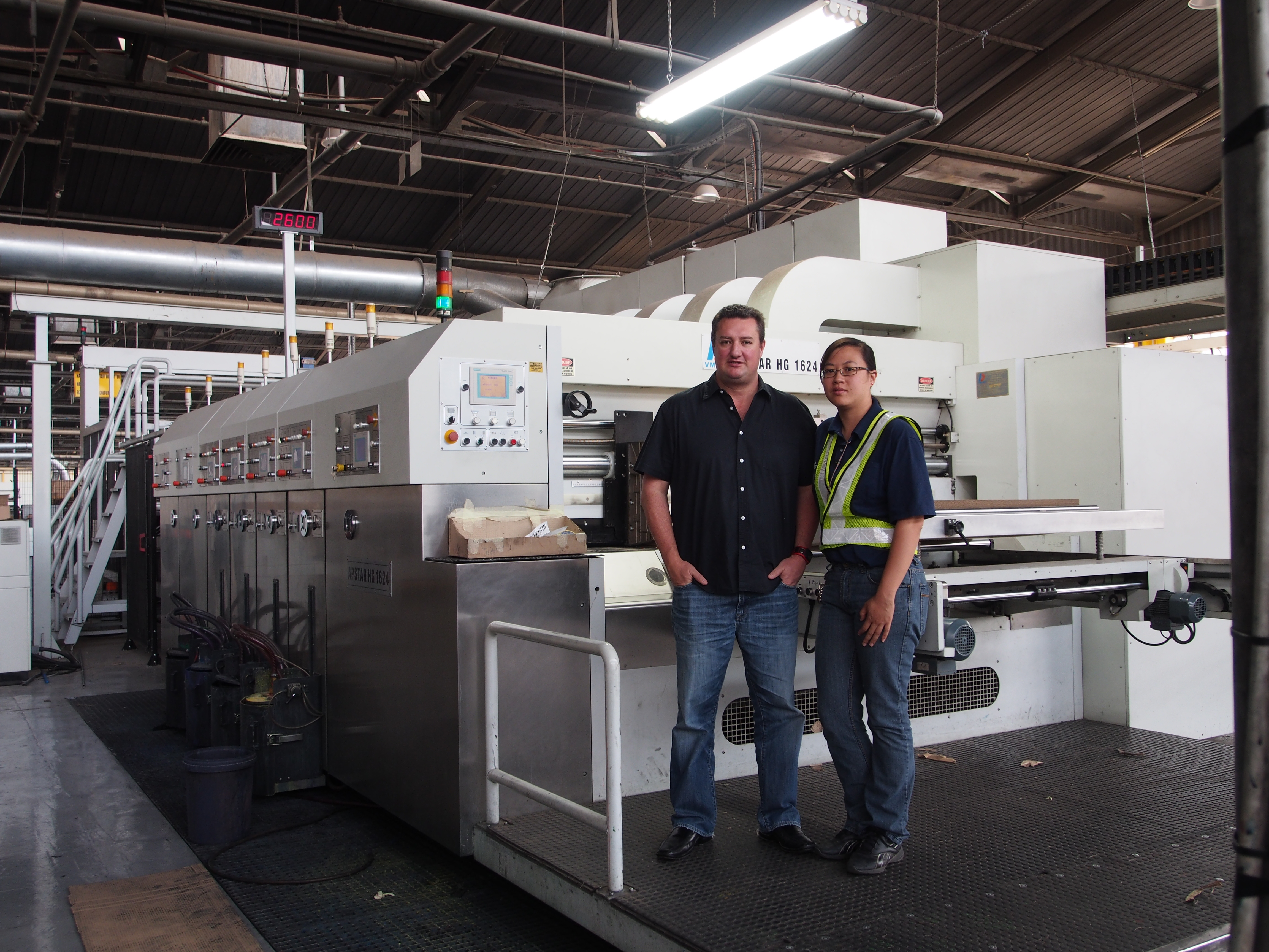 General Manager, Ryan Swan with Goettsch Technician, Jessica Zhang with Box Lee's New Dong Fang Apstar HG 1624