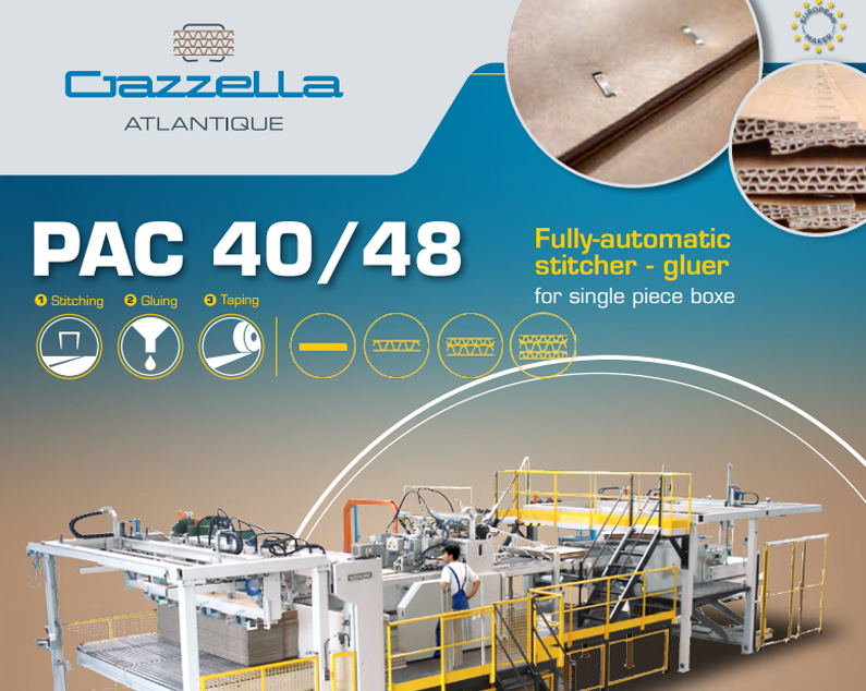 Learn more about the PAC 40/48 Fully Automatic Folder-Stitcher-Gluer in the Gazzella Atlantique brochure.