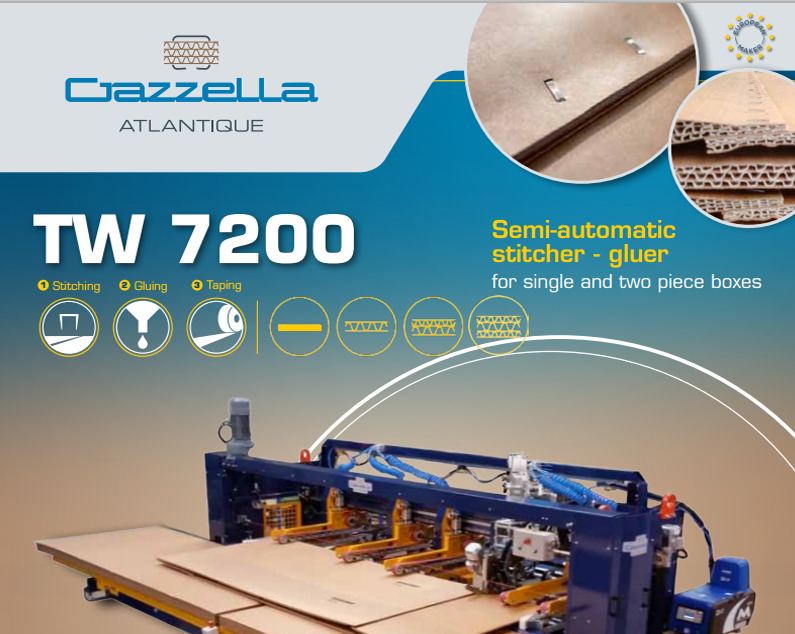 Learn more about the TW7200 Semi-Automatic Stitcher-Gluer in the Gazzella Atlantique brochure.